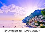 view of positano village on a... | Shutterstock . vector #699860074