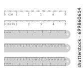 metal grey measuring rulers set ... | Shutterstock .eps vector #699860614