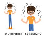 boy spread out her hands in... | Shutterstock .eps vector #699868240