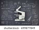 science concept   microscope on ... | Shutterstock . vector #699877849
