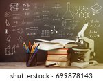 education concept   books and... | Shutterstock . vector #699878143