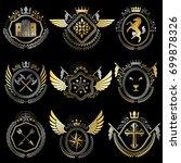 heraldic emblems with wings...   Shutterstock .eps vector #699878326