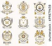 vector classy heraldic coat of... | Shutterstock .eps vector #699879658
