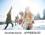woman running away from the... | Shutterstock . vector #699880630