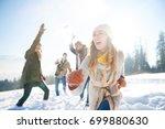 woman running away from the... | Shutterstock . vector #699880630