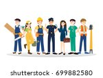 set of diverse caree profession ... | Shutterstock .eps vector #699882580