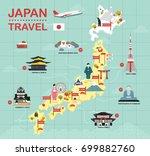 japan landmark icons map for... | Shutterstock .eps vector #699882760