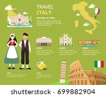 traveling to italy by landmarks ... | Shutterstock .eps vector #699882904