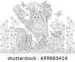 coloring page of forest... | Shutterstock .eps vector #699883414