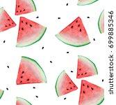 watermelon sliced seamless... | Shutterstock . vector #699885346