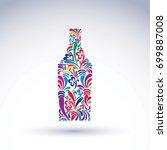 bright flowery alcohol bottle.... | Shutterstock .eps vector #699887008