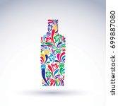 bright flowery alcohol bottle.... | Shutterstock .eps vector #699887080