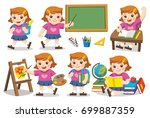 back to school. cute children... | Shutterstock .eps vector #699887359