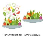 vegetable  plates. slices of... | Shutterstock .eps vector #699888028