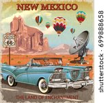 vintage new mexico road trip... | Shutterstock .eps vector #699888658