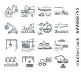 set of thin line icons loading... | Shutterstock .eps vector #699888793