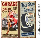 set of vintage car  metal signs ... | Shutterstock .eps vector #699889126