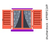 vector window with pink... | Shutterstock .eps vector #699891169