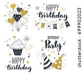 set of birthday greeting cards... | Shutterstock .eps vector #699902023