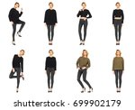 beautiful girl in leather pants ... | Shutterstock . vector #699902179