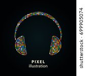 headphone   pixel icon. vector... | Shutterstock .eps vector #699905074