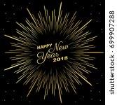 golden happy new year 2018 with ... | Shutterstock .eps vector #699907288