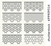 set of black lace seamless... | Shutterstock .eps vector #699909514