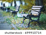 benches stand in the autumn... | Shutterstock . vector #699910714