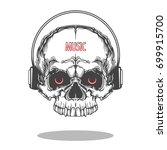 music skull with earphone ... | Shutterstock .eps vector #699915700