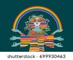 psychedelic hippie woman ... | Shutterstock .eps vector #699930463