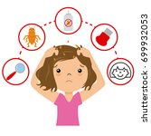 girl with lice. step by step... | Shutterstock .eps vector #699932053