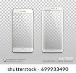 white phones vector mock up... | Shutterstock .eps vector #699933490
