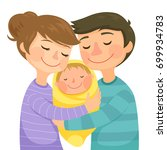 happy young parents hugging a... | Shutterstock . vector #699934783