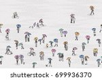 banner with tiny grey people... | Shutterstock .eps vector #699936370
