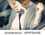 seatbelt in the car | Shutterstock . vector #699936448