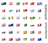 world flags icon set. shiny... | Shutterstock . vector #699936856
