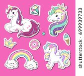 stickers unicorns and rainbow... | Shutterstock .eps vector #699939733