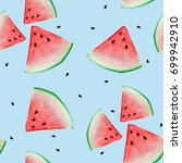 watermelon sliced seamless... | Shutterstock . vector #699942910