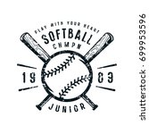 emblem of softball junior team. ... | Shutterstock .eps vector #699953596