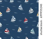 marine seamless pattern with... | Shutterstock .eps vector #699955240