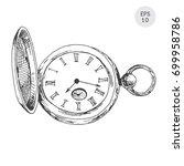 pocket watch in retro style... | Shutterstock .eps vector #699958786