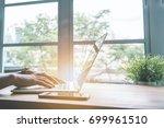 nomad business hand working... | Shutterstock . vector #699961510