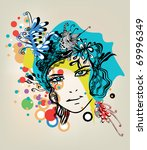 abstract girl with dots | Shutterstock .eps vector #69996349