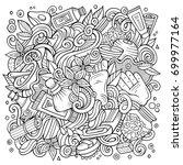 cartoon cute doodles hand drawn ... | Shutterstock .eps vector #699977164