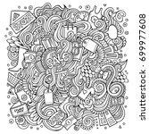 cartoon cute doodles hand drawn ... | Shutterstock .eps vector #699977608