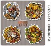 set of autumn season cartoon... | Shutterstock .eps vector #699977644