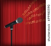 microphone with floating sample ... | Shutterstock .eps vector #699980590