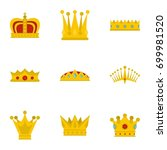 imperial crown icon set. flat... | Shutterstock .eps vector #699981520