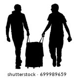 tourist boys travelers carrying ... | Shutterstock .eps vector #699989659