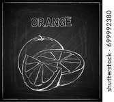 hand draw of orange on a... | Shutterstock .eps vector #699992380
